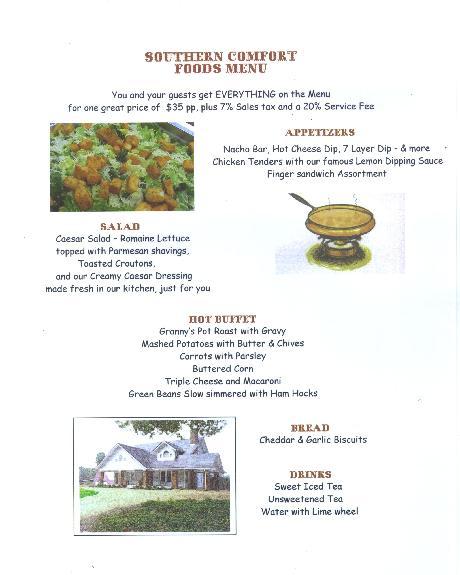 Comfort Food Wedding Menu: Peach Brandy Cottage